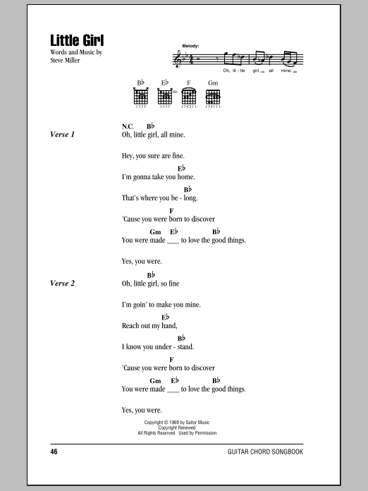Little Girl Sheet Music By Steve Miller Band Lyrics Chords 79175