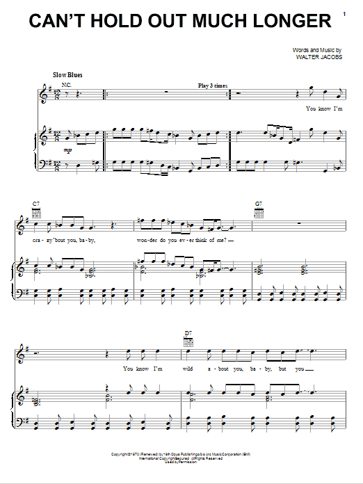 Can't Hold Out Much Longer (Piano, Vocal & Guitar (Right-Hand Melody))