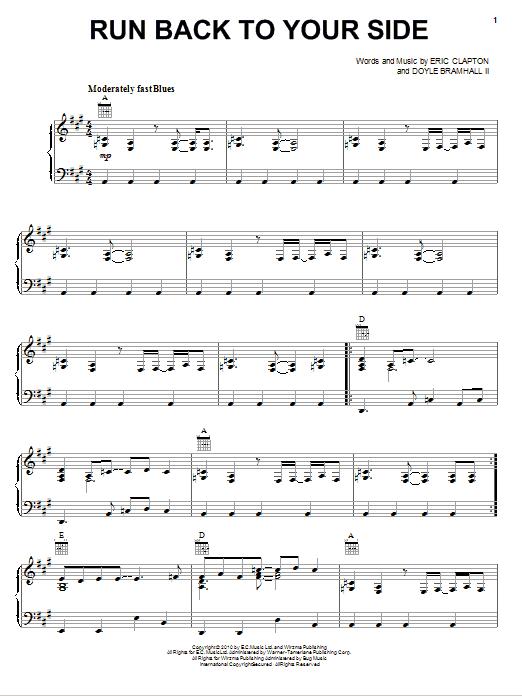Partition piano Run Back To Your Side de Eric Clapton - Piano Voix Guitare (Mélodie Main Droite)