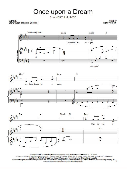 Partition piano Once Upon A Dream de Leslie Bricusse - Piano Voix