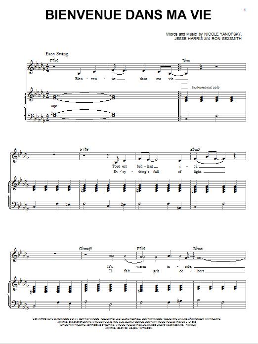 Bienvenue Dans Ma Vie (Piano & Vocal)