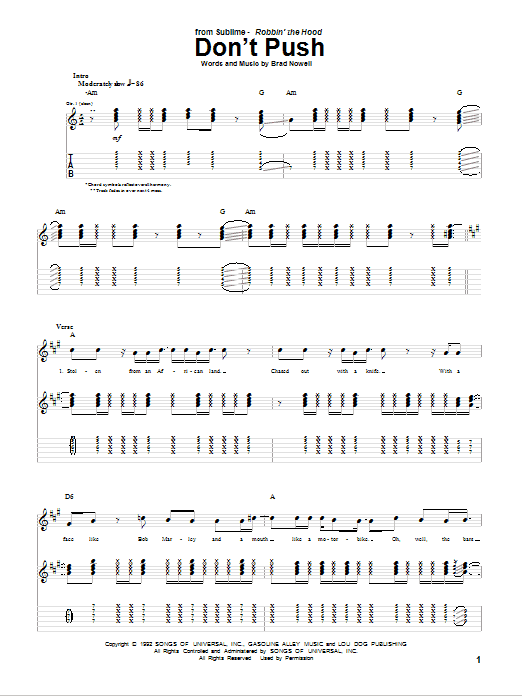 Tablature guitare Don't Push de Sublime - Tablature Guitare