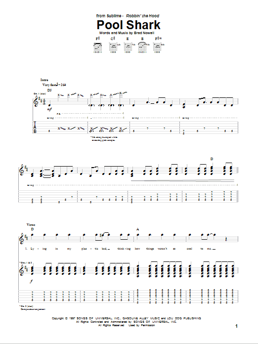 Pool Shark Guitar Tab By Sublime Guitar Tab 79939