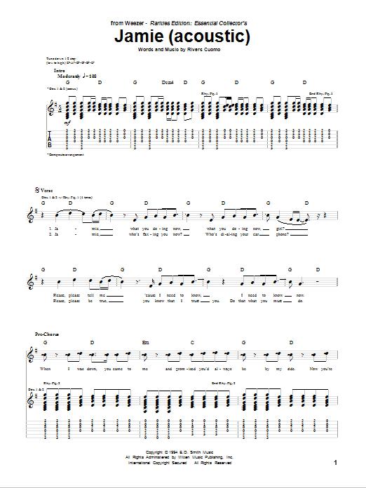 Tablature guitare Jamie (Acoustic Version) de Weezer - Tablature Guitare