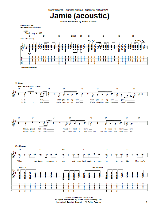 Jamie (Acoustic Version) Sheet Music