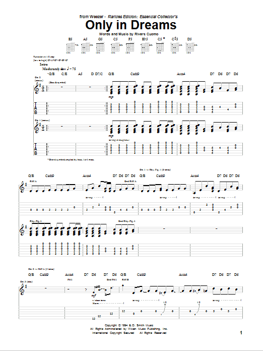 Tablature guitare Only In Dreams de Weezer - Tablature Guitare