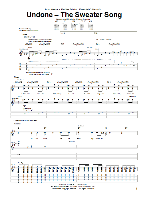 Tablature guitare Undone - The Sweater Song de Weezer - Tablature Guitare
