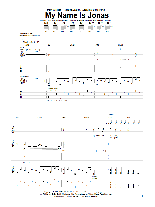 Tablature guitare My Name Is Jonas de Weezer - Tablature Guitare