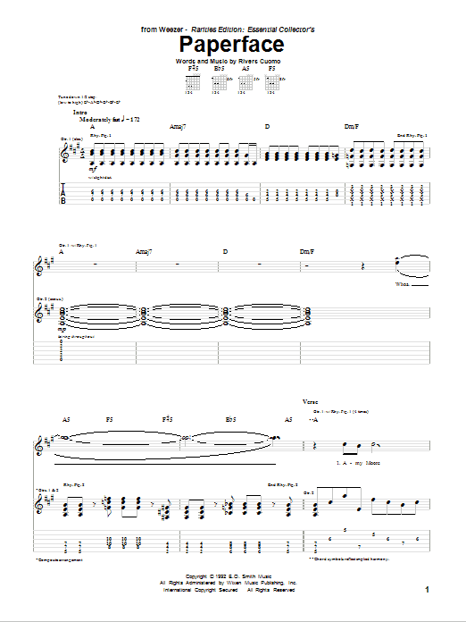 Tablature guitare Paperface de Weezer - Tablature Guitare