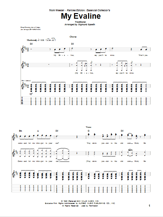 Tablature guitare My Evaline de Weezer - Tablature Guitare