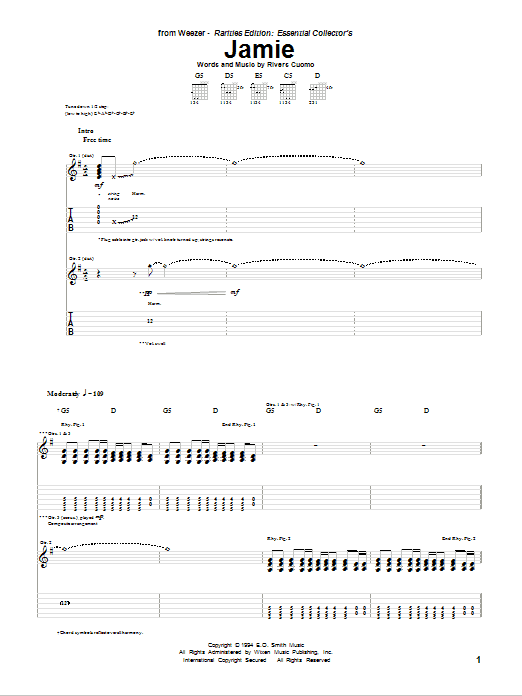 Tablature guitare Jamie de Weezer - Tablature Guitare