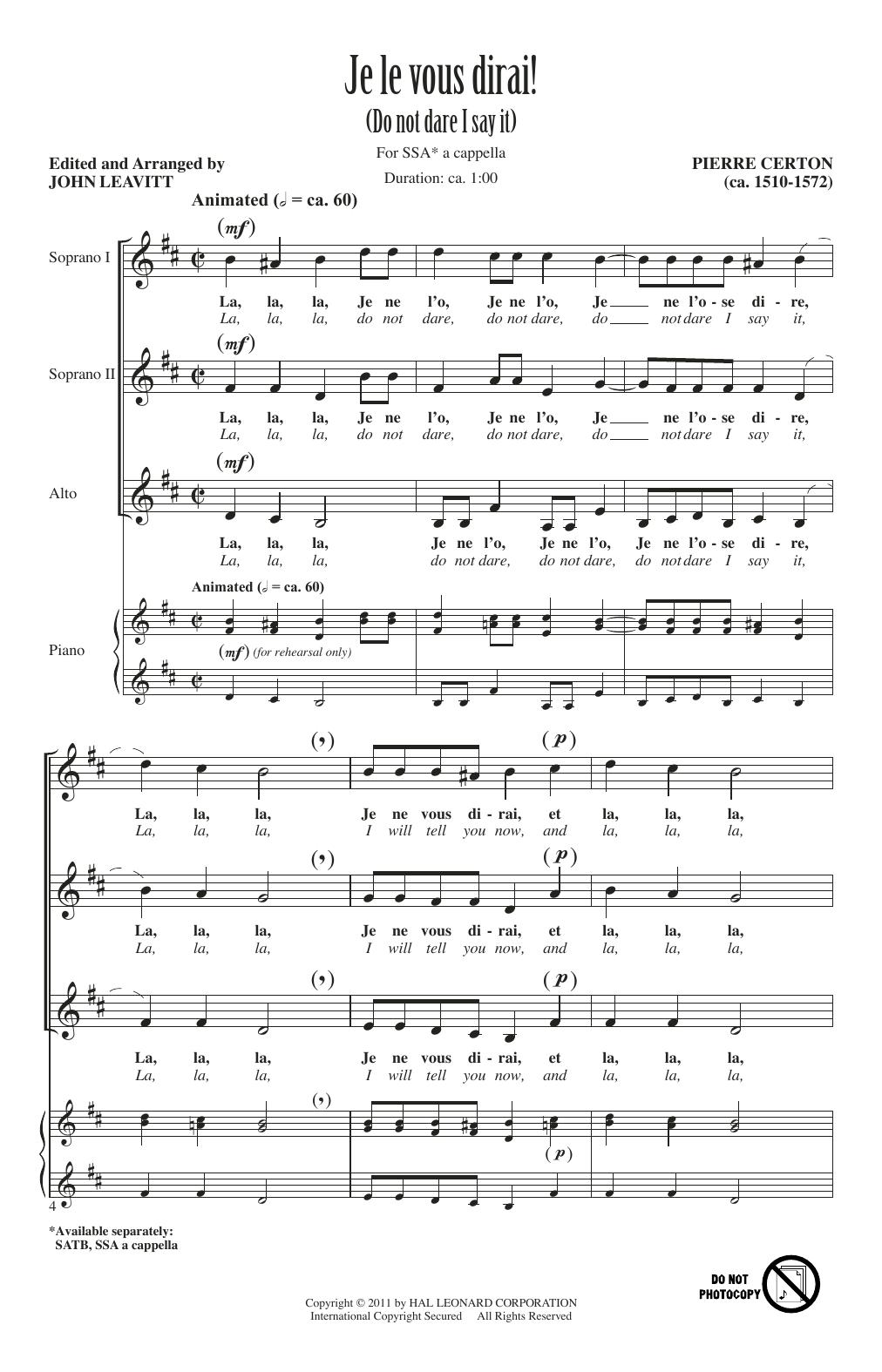 Je Le Vous Dirai Sheet Music