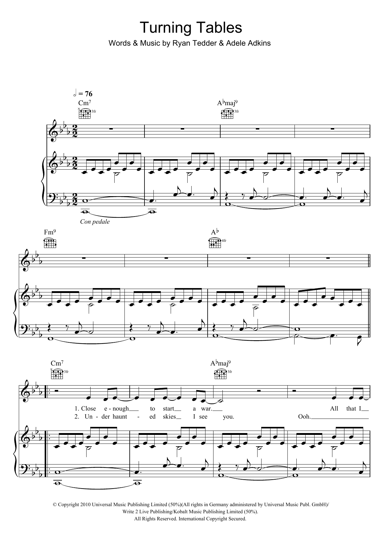 turning tables | sheet music direct