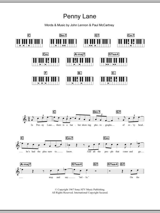 Penny Lane Sheet Music The Beatles Keyboard