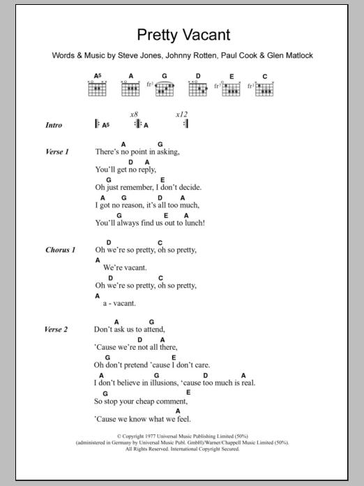 Pretty Vacant Sheet Music Direct