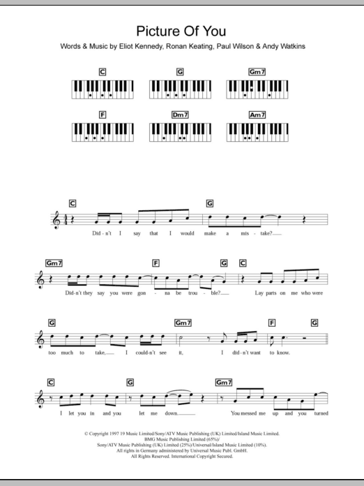 Picture Of You Sheet Music