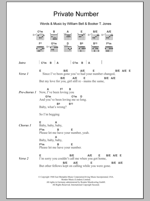 Private Number Sheet Music By William Bell Judy Clay Lyrics