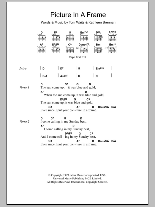 Picture In A Frame by Tom Waits - Guitar Chords/Lyrics - Guitar ...