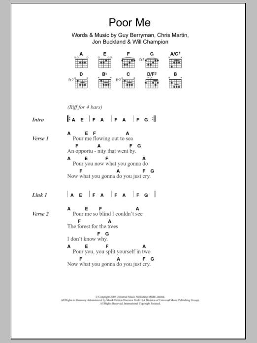 Poor Me by Coldplay - Guitar Chords/Lyrics - Guitar Instructor
