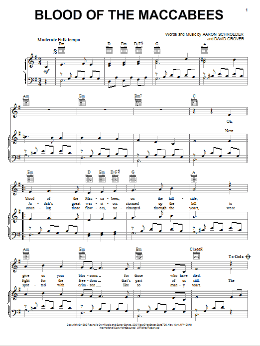 Blood Of The Maccabees Sheet Music