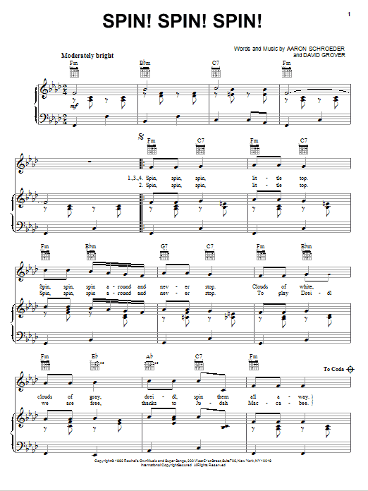 Spin! Spin! Spin! Sheet Music