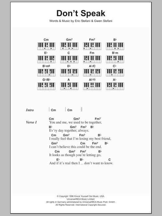 Dont Speak No Doubt Lyrics Piano Chords