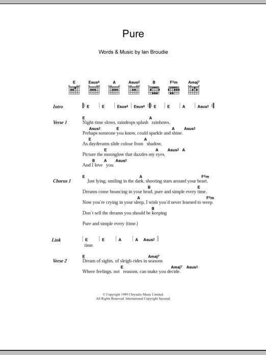 Pure by The Lightning Seeds - Guitar Chords/Lyrics - Guitar Instructor