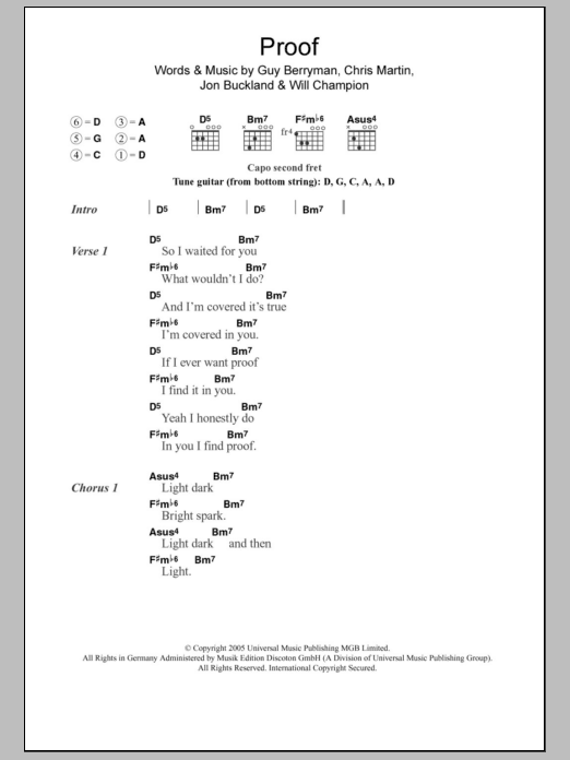 Proof | Coldplay | Lyrics & Chords