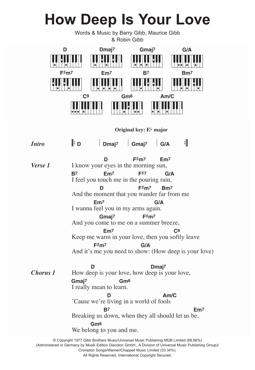 How Deep Is Your Love Sheet Music Bee Gees Lyrics Piano Chords