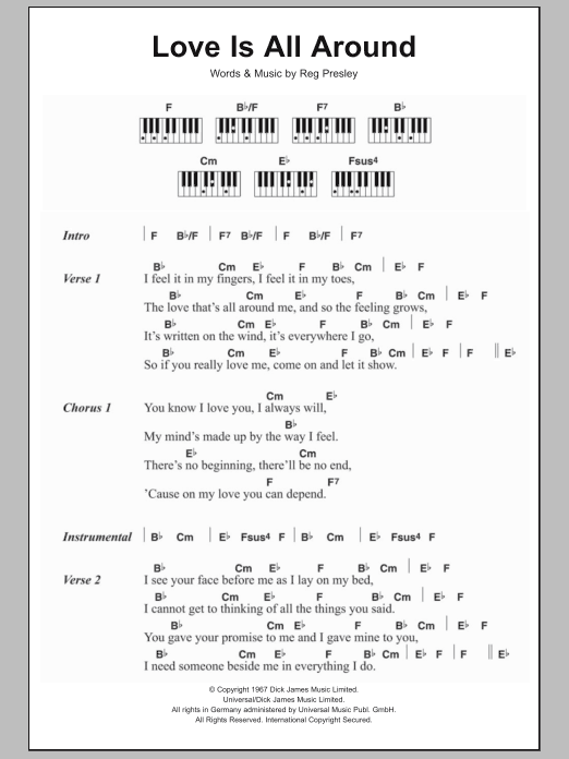 Love Is All Around Sheet Music Wet Wet Wet Lyrics Piano Chords