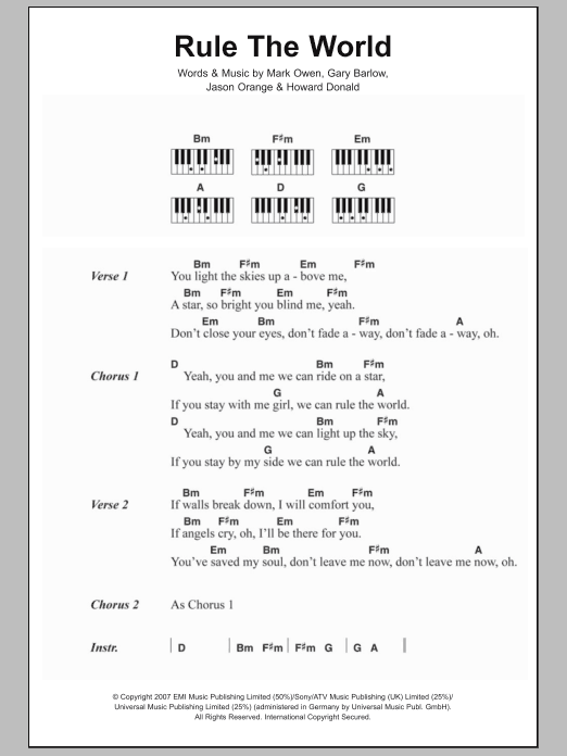 Rule The World From Stardust Take That Lyrics Piano Chords