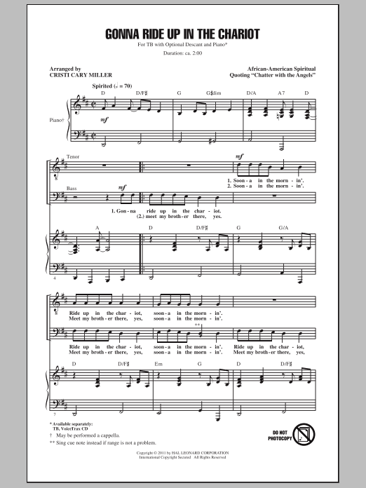 Gonna Ride Up In The Chariot (arr. Cristi Cary Miller) Sheet Music