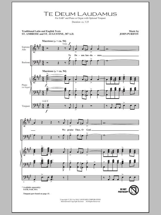 Partition chorale Te Deum Laudamus de John Purifoy - SAB