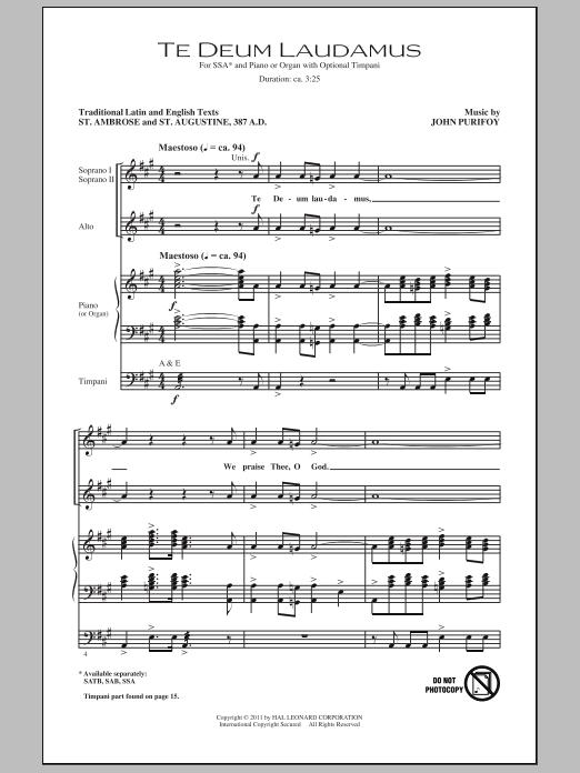 Partition chorale Te Deum Laudamus de John Purifoy - SSA