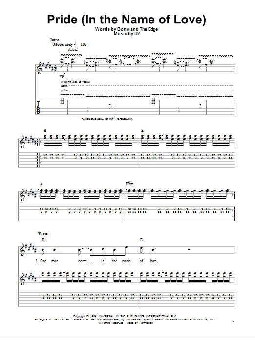 Pride (In The Name Of Love) (Guitar Tab (Single Guitar))
