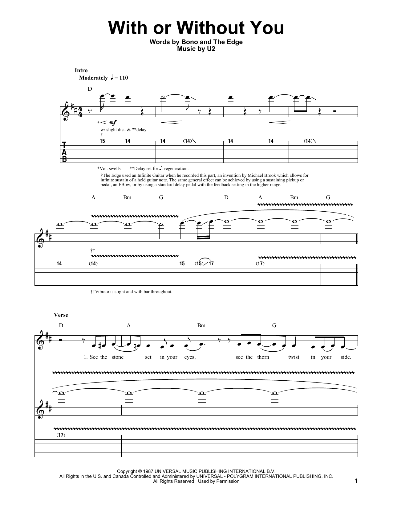 Tablature guitare With Or Without You de U2 - Playback Guitare