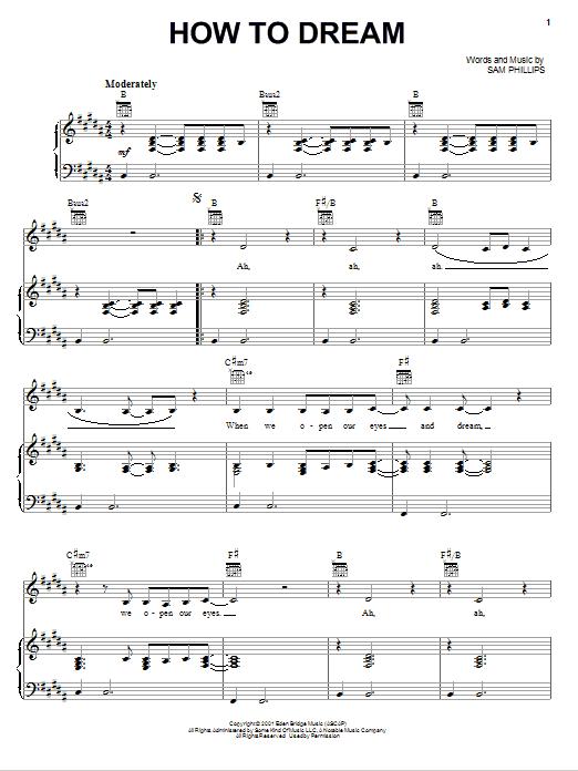 Partition piano How To Dream de Sam Phillips - Piano Voix Guitare (Mélodie Main Droite)