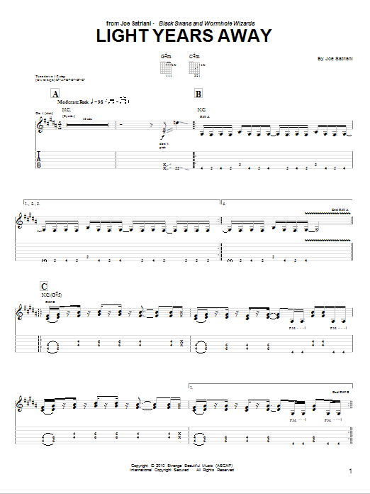 Tablature guitare Light Years Away de Joe Satriani - Tablature Guitare