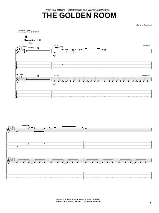 Tablature guitare The Golden Room de Joe Satriani - Tablature Guitare