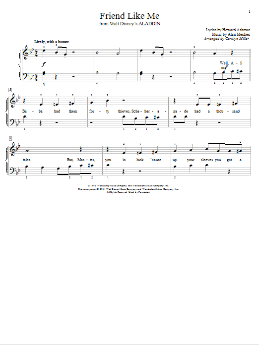 Partition piano Friend Like Me de Alan Menken - Autre
