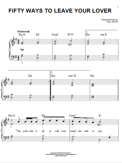 Fifty Ways To Leave Your Lover Sheet Music