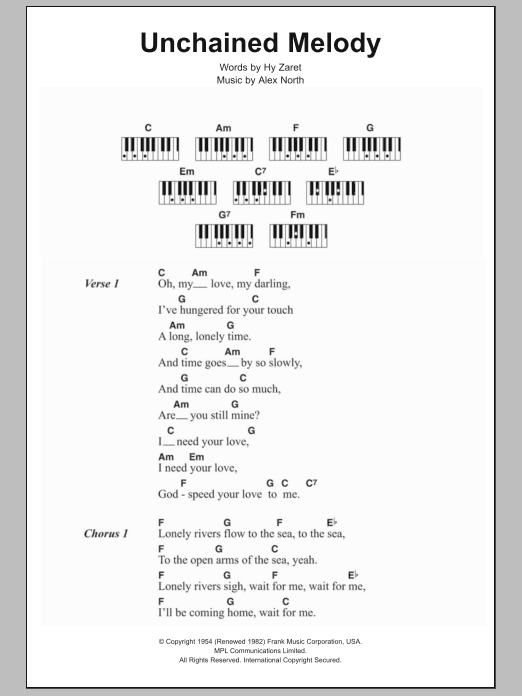 Unchained Melody Sheet Music The Righteous Brothers Lyrics
