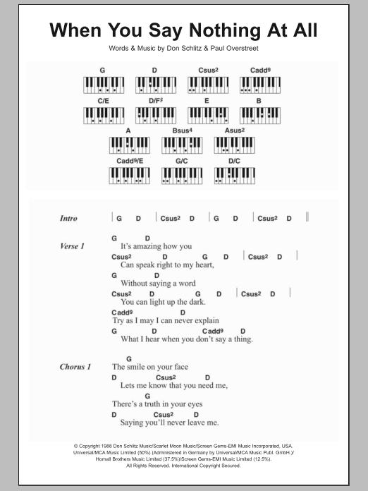 When You Say Nothing At All | Ronan Keating | Lyrics & Piano Chords