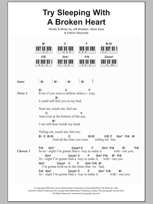 Try Sleeping With A Broken Heart Sheet Music Alicia Keys Lyrics