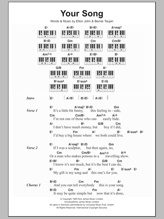 Your Song Sheet Music Elton John Lyrics Piano Chords