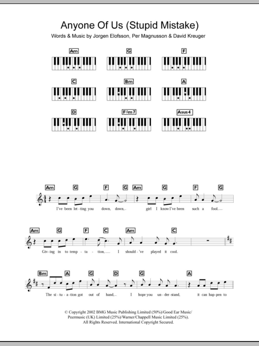 Anyone Of Us (Stupid Mistake) Sheet Music