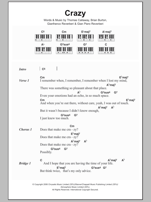 Crazy Sheet Music Gnarls Barkley Lyrics Piano Chords