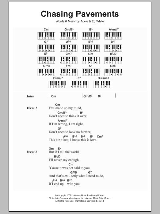 Chasing Pavements Sheet Music | Adele | Lyrics & Piano Chords