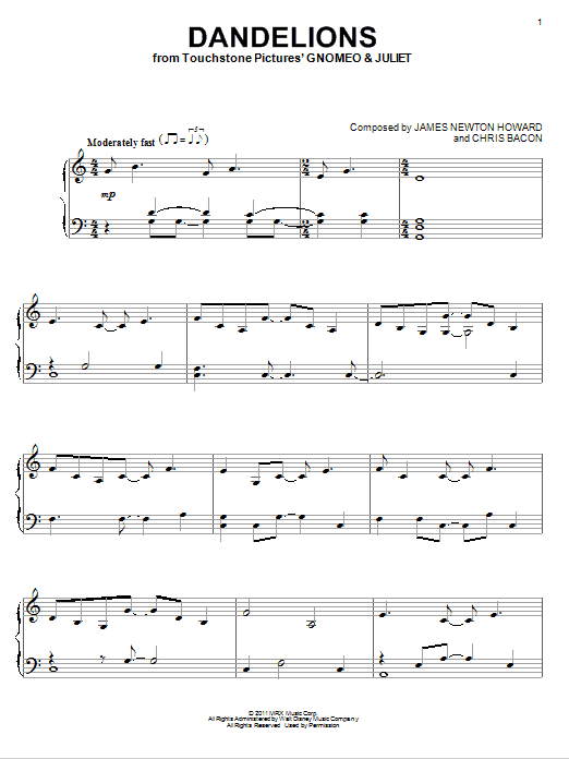 Dandelions Sheet Music