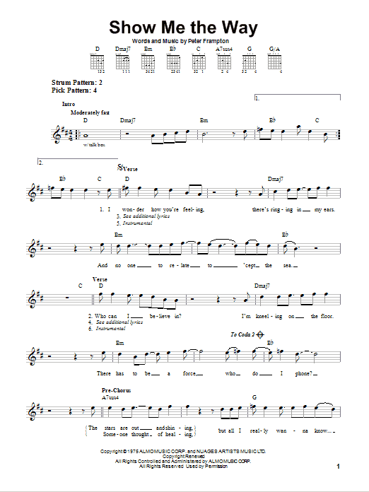 Tablature guitare Show Me The Way de Peter Frampton - Tablature guitare facile